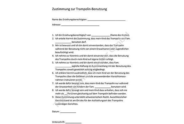 Zustimmung Trampolin-Benützung